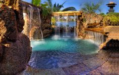 My dream pool with waterfalls all over.this would look good in my backyard Luxury Swimming Pools, Luxury Pools, Dream Pools, Swimming Pool Designs, Le Palace, Lagoon Pool, Outdoor Pool, Pool Backyard, Pool Decks