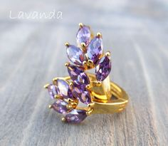 Golden lavender hoop earrings. Find more on my page https://www.facebook.com/Afterforever-165476590226070/
