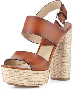 Michael Kors Summer Leather Jute Sandal, Luggage