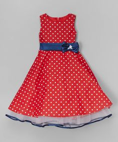 Another great find on #zulily! Red & Navy Polka Dot A-Line Dress - Toddler & Girls by Kid Fashion #zulilyfinds