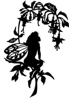 Love the fuchsia silhouette - not so sure on the faerie's legs. Kirigami, Fairy Silhouette, House Silhouette, Woman Silhouette, Fairy Lanterns, Fairy Jars, Fairy Houses, Silhouette Projects, Paper Cutting