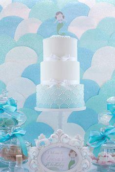 Mermaid party cake via kara's party ideas karaspartyideas.com #mermaid #birthday #cake #idea