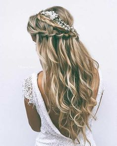 Simple Braided Half Up Wedding Hairstyle with Flowers