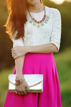 Sarah Vickers in a J Crew blouse with a Lilly Pulitzer skirt and Loren Hope jewelry Modest Outfits, Classy Outfits, Modest Fashion, Love Fashion, Cute Outfits, Womens Fashion, Classy Clothes, Pink Outfits, Stylish Clothes