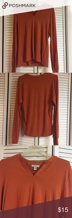 Burnt orange Faconnable top Super comfy long sleeve v neck burnt orange shirt. Faconnable is Nordstrom brand. Faconnable Tops Tees - Long Sleeve