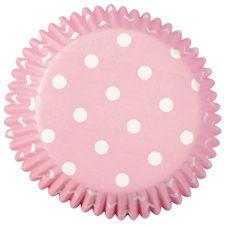 Capacillos Wilton Rosa, Puntos Blancos, para hornear tus cupcakes. Se realizan bajo pedido