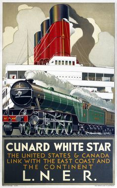 Cunard White Star Line, Railway Shipping Travel Poster Print.  The United States & Canada by LNER