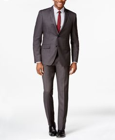 Perry Ellis Charcoal Pindot Extra Slim-Fit Suit