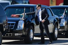 A secret service agent dusts off The Beast while on a mission.