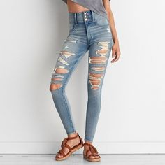 AEO Denim X4 Super Hi-Rise Jegging (Jeans) ($60) via Polyvore featuring jeans, tainted love, denim jeans, jegging jeans, stretch denim jeans, american eagle outfitters and stretch jeans