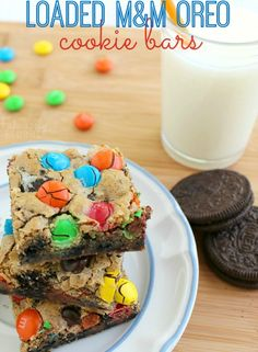 This cookie bar loaded with Oreo cookies and M&M candies is an especially fun treat for kids!