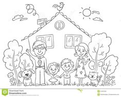 Picture - family clipart black and white Shark Coloring Pages, Family Coloring Pages, House Colouring Pages, Dog Coloring Page, Coloring Books, Black And White Cartoon, Clipart Black And White, Cartoon Familie, Family Clipart