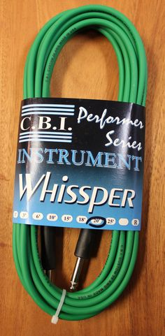 """C.B.I. Whissper Classic Double Heat Shrink 20' 1/4"""" 22 Gauge Instrument Cable Green"""