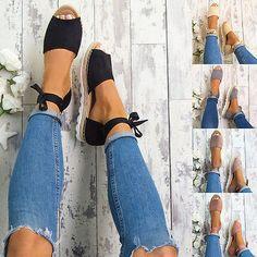 WOMENS NEW FLAT LOW WEDGE HEELS ESPADRILLES SUMMER LADIES SANDALS SHOES SIZE women's fashion footwear ebay.com (affiliate)