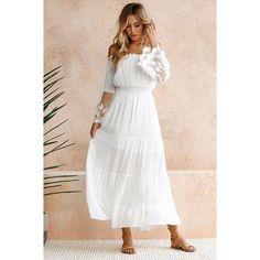 95c67f03dfa Sundress Beach Strapless Long Sleeve Loose Sexy Off Shoulder Lace Boho Maxi  Dress. Moonbiffy Summer Sundress Long Women White ...