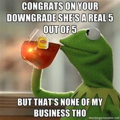 Congrats on your downgrade she's a real 5 out of 5  But that's none of my business tho | But that's none of my business: Kermit the Frog