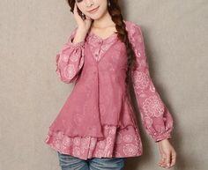 Pink cotton Blouse vintage chiffon blouse women blouse fashion shirt blouse--TP029