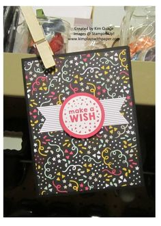 Make a wish card from the STampin Up Party Wishes stamp set and My Party designer paper