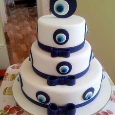 Dinner Party Decorations, Evil Eye, Vanilla Cake, Pastries, Fondant, Birthdays, Greek, Anniversary, Cakes