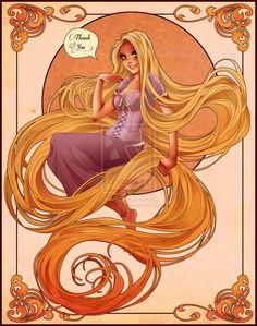 Art Nouveau Rapunzel by LadyAdler