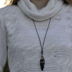 Obsidian Blade Necklace
