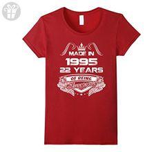 Womens 22th birthday Gift Idea 22 Year Old Boy Girl Shirt 1995 Large Cranberry - Birthday shirts (*Amazon Partner-Link)