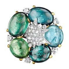 Verdura | Blue-green Mozambique tourmaline, diamond and white gold. | EARCLIPS | GEMSTONE | Stardust Cluster Earclips