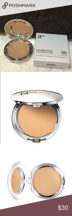 IT Celebration Foundation SPF 50 Tan Great for the most sensitive skin, IT Cosmetics Celebration Foundation SPF 50+ gives you complexion perfection & physical-only sun protection, diffusing the look of imperfections while delivering airbrushed coverage that lasts all day w/o creasing or cracking. Developed w/plastic surgeons, the talc-free formula absorbs oil w/o settling into fine lines & wrinkles, & is infused with anti-aging, ingredients including hydrolyzed collagen, silk, peptides…