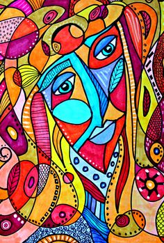 Michelle Langley   abstract face vibrant rainbow ink