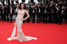 Mouna Ayoub, one of the most important Haute Couture collectors worldwide, in an embroidered Spring 2014 gown. 2014 Cannes Film Festival.