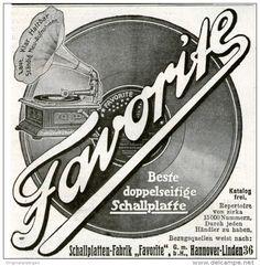 Original-Werbung/Inserat/ Anzeige 1910 - SCHALLPLATTEN-FABRIK FAVORITE HANNOVER-LINDEN - ca. 90 x 90 mm