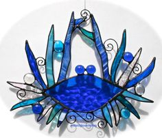 Stained Glass BLUE CRAB Whimsy Suncatcher - Cobalt Blues, Aqua, Turquoise…