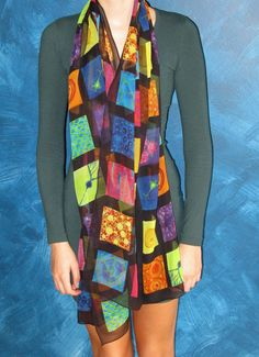 Portrait in Cells  Silk Chiffon Scarf by artologica on Etsy