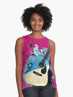 « Blue guitar - guitare - musique- instrument » par LEAROCHE Instruments, Shirt Style, Tank Tops, People, T Shirt, Blue, Women, Fashion, Guitar