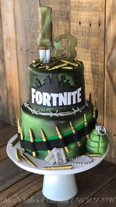 Source by melindaschl Fortnite Game Fondant 2 Tier Birthday Cake. 2 Tier Birthday Cakes, Army's Birthday, 10th Birthday Parties, Birthday Cake Kids Boys, Boy Birthday Cupcakes, Boys Cupcakes, Birthday Games, Birthday Ideas, Creative Cakes