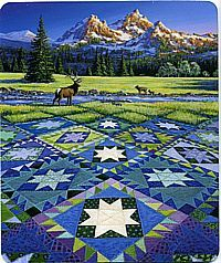 Quilt inspired jigsaw puzzles by Rebecca Barker and Diane Phalen and others bring togher a country living and quilts. These puzzles feature foreground quilts and background landscapes that meld together. Textiles, Landscape Art Quilts, Landscapes, Panel Quilts, Star Quilts, Pics Art, Fabric Art, Fabric Painting, Quilting Designs