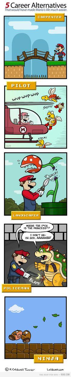 If Mario wasn't a plumber. Haha I'm a nerd when it comes to Mario stuff Video Game Logic, Video Games Funny, Funny Games, Super Smash Bros, New Super Mario Bros, Wii U, Pokemon, Mario And Luigi, Mario Kart