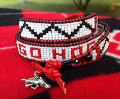 Leather wrap beaded bracelet....woo pig!