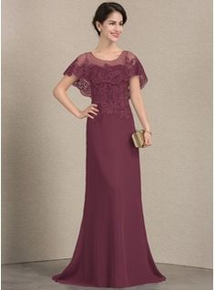 A-Line/Princess Scoop Neck Sweep Train Chiffon Lace Mother of the Bride Dress (008143373) - Mother of the Bride Dresses - JJ's House