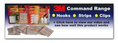 3M Command Range includes hooks, strips and clips. Available to purchase from www.directa.co.uk