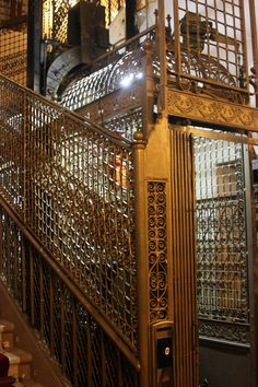 old-fashioned cage elevators