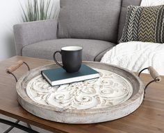 Round Wooden Tray Diameter Rustic Brown and White Decorative Tray for Serving Display and Storage Serving Tray Decor, Serving Trays With Handles, Round Wooden Tray, Wood Tray, Large Tray, Large Ottoman Tray, Ottoman Decor, The Calling, Dining Room Table