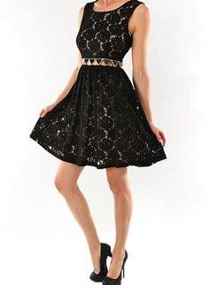 Black Floral Dress - Black Sleeveless Floral Lace Dress