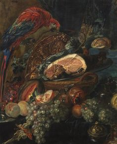 Artist Unknown, , Still Life with Parrot and Fruit