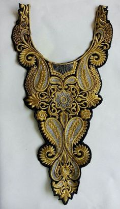 Gold Black Zari Embroidered Neckline for Muslim Wear Dress