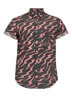 Zig Zag Print Short Sleeve Shirt
