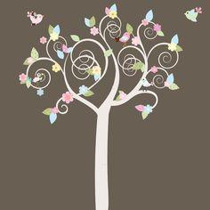 Swirl Tree Pattern Leaves Flowers Birds Vinyl Wall Decal Sticker. $99.00, via Etsy.