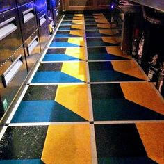 Installation photo provided by our client, J Brown Flooring , of a job we cut for them out of Marmoleum sheet. The design centres around a 245mm tile. The tile is framed by 490mm x 245mm mitred strips, which inturn is framed by 25mm strips and keys. Job installed in a bar/restaurant in London. #marmoleum #debruyns #design #flooring #flooringtile #designcutting #keys #tile #tilecutting #marmoleumsheet #linoleum #mitre