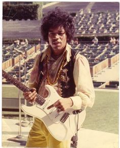 *    Jimi Hendrix at soundcheck.