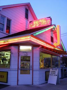 Love the neon at Nick's Nest in Holyoke MA   This is just up the street from where my sister lives.